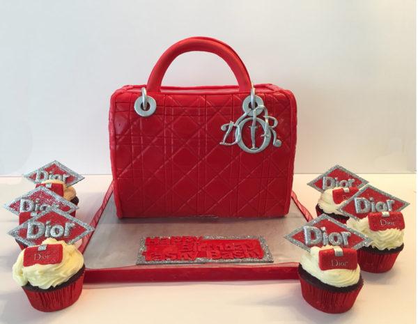 Red Dior handbag style cake 2015