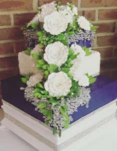 Wedding Cake with Crystals and country cabbage roses