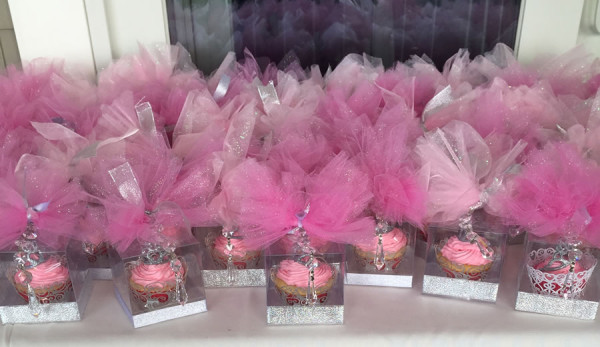 Cupcake Party Favors with Tulle puffs and crystals