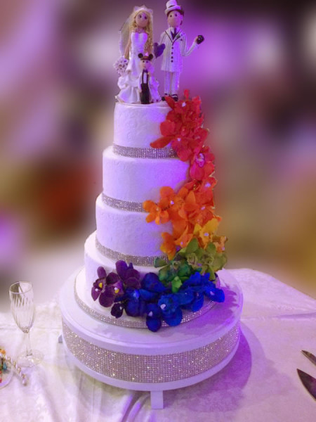 Wedding Cake with a Rainbow theme for a special couple