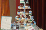 Rehearsal Dinner Cupcake Tower with Clay Figurines