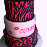 Animal skin pattern cake with kisses