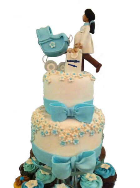 Baby Boy Shower Cake and Cupcakes