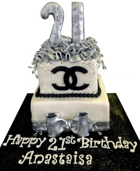 Coco Chanel Bag Custom Birthday Cake for 21 Year birthday party