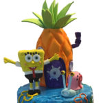 Sponge Bob birthday cake with custom topper