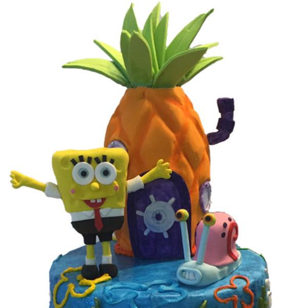 Sponge Bob birthday cake with custom topper